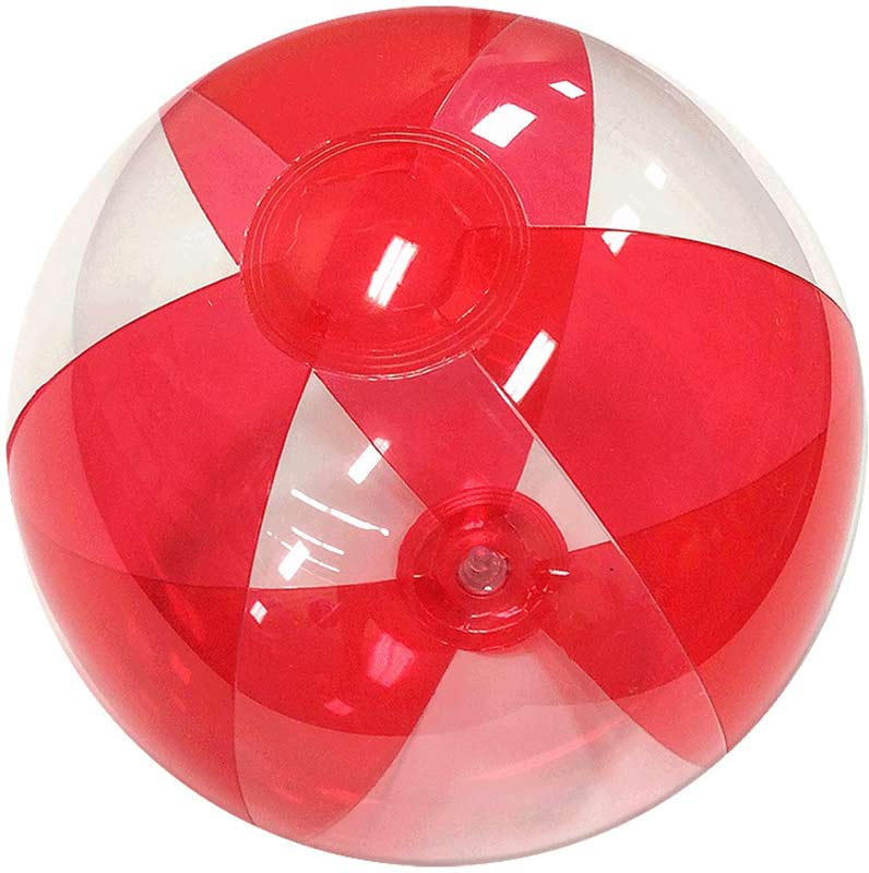 "12"" Translucent Red/Clear Beach Ball"