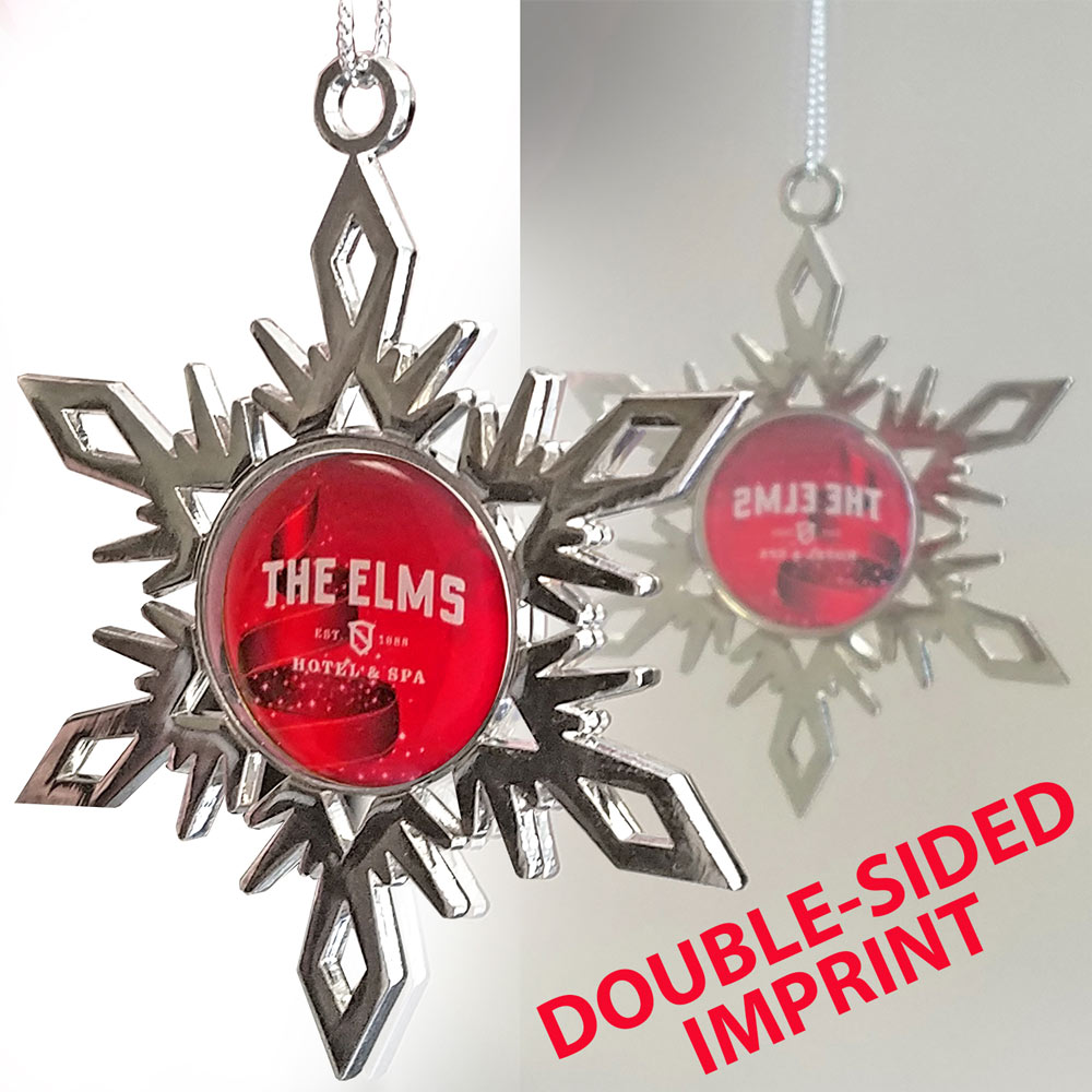 Bright Nickel Snowflake Ornament - Two Sided