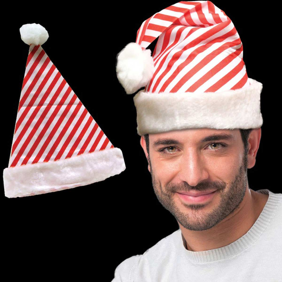 Embroidered Candy Cane Striped Santa Hats