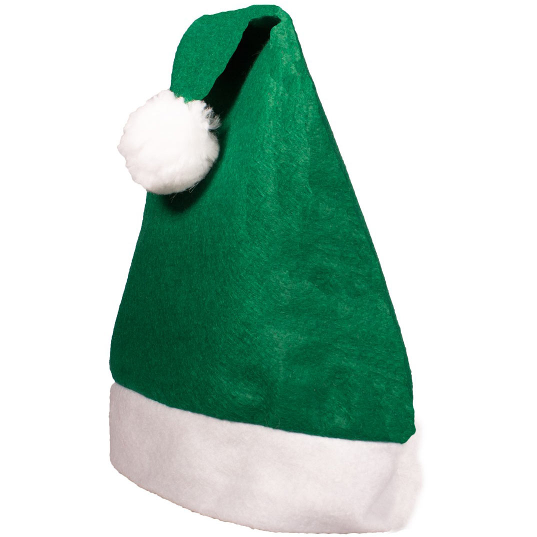Embroidered Green Felt Santa Hats