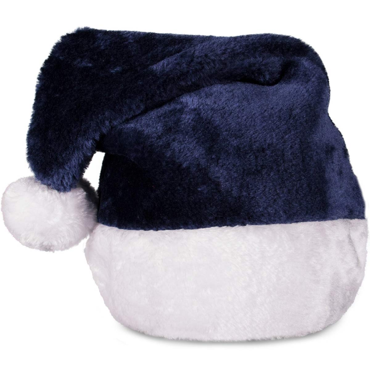 Embroidered Navy Blue Plush Santa Hats