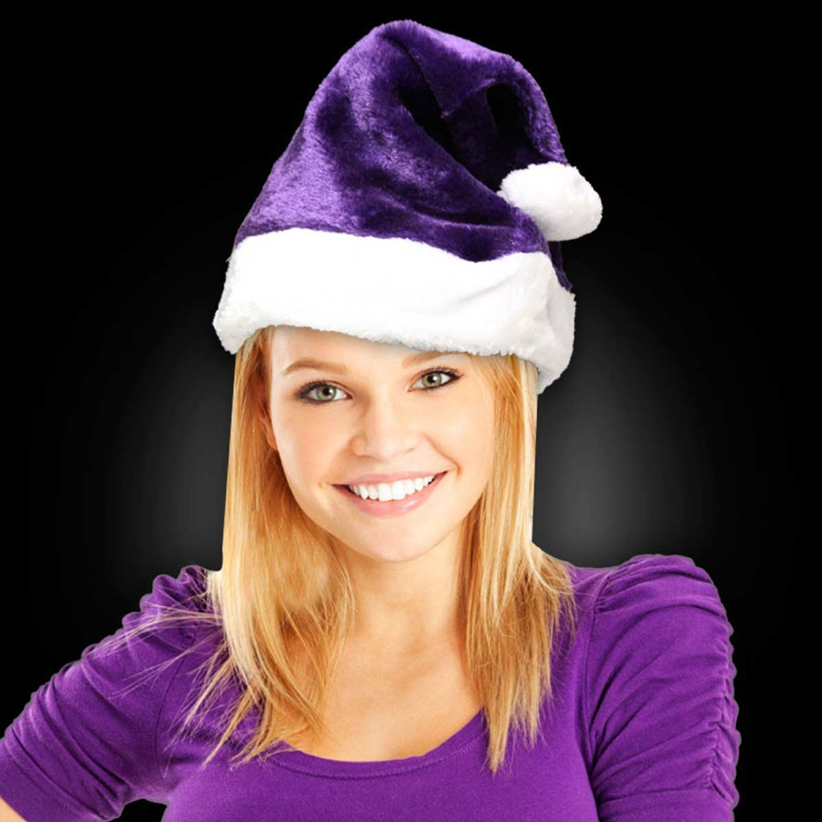 Blank Purple Plush Santa Hats