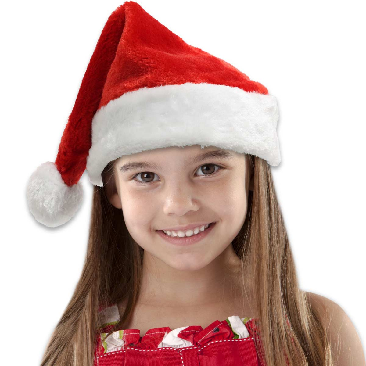 Embroidered Red Plush Children's Santa Hats