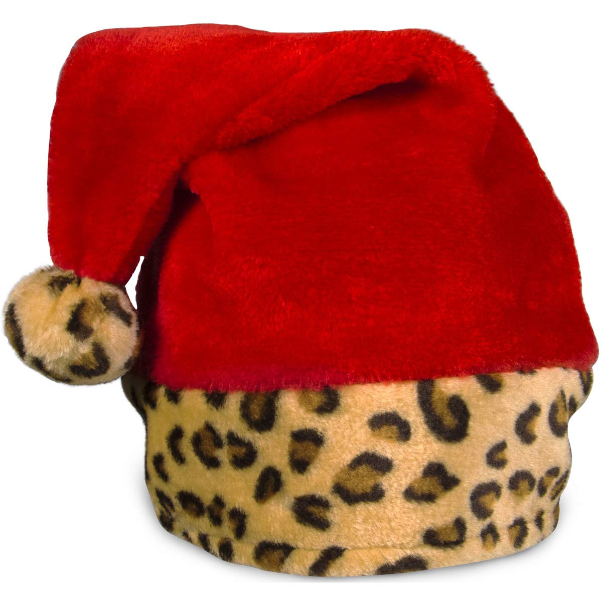 Embroidered Leopard Print Santa Hats