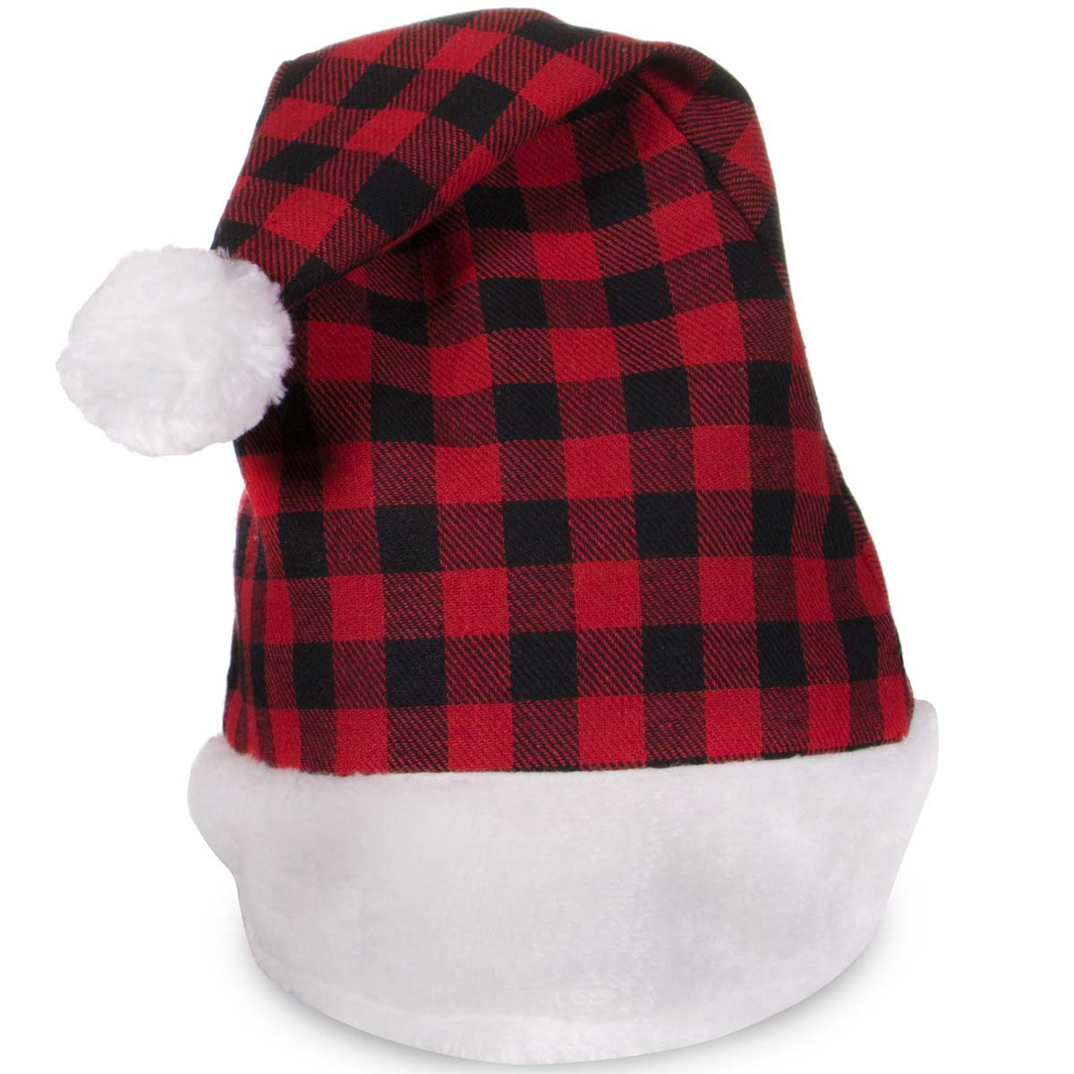 Embroidered Red Plaid Plush Santa Hats