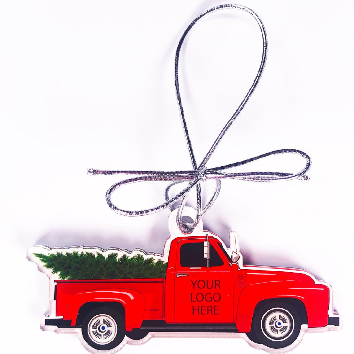 Acrylic Vintage Red Truck with Christmas Tree Ornament