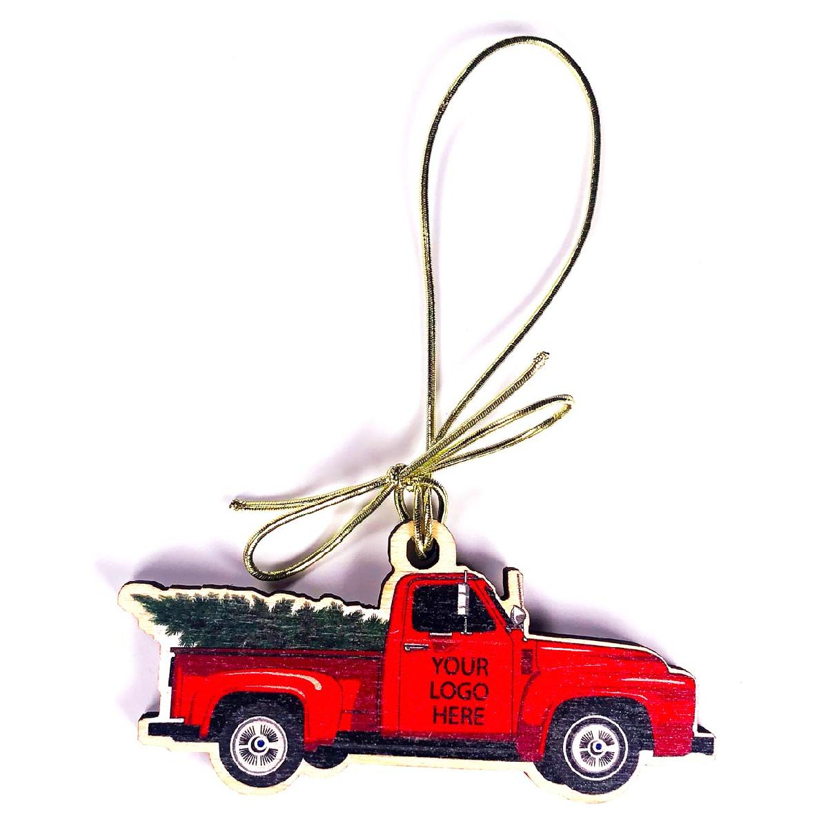 Birch Wood Vintage Red Truck with Christmas Tree Ornament