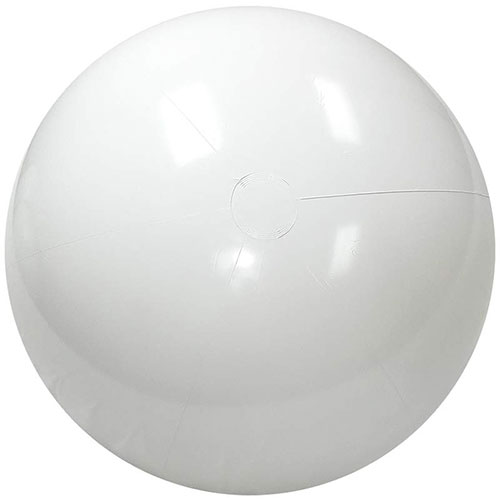 16 Inch Solid White Beach Ball - 16 Inch Measured Deflated, Inflatable  White Beach Ball, Phthalate Free PVC Material Beach Ball