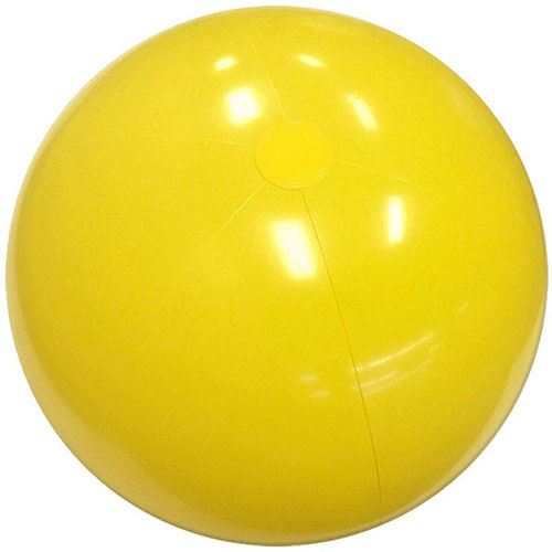 "6"" Solid Yellow Beach Ball - 6 Inch Measured Deflated, Inflatable Solid Yellow Beach Ball, Phthalate Free PVC Material Beach Balls"
