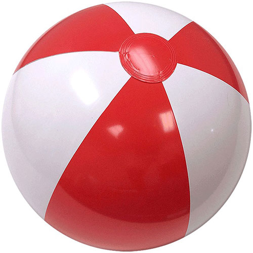 "12"" Beach Ball (Red/White) - Custom 12"" Beach Balls (Red/White)"