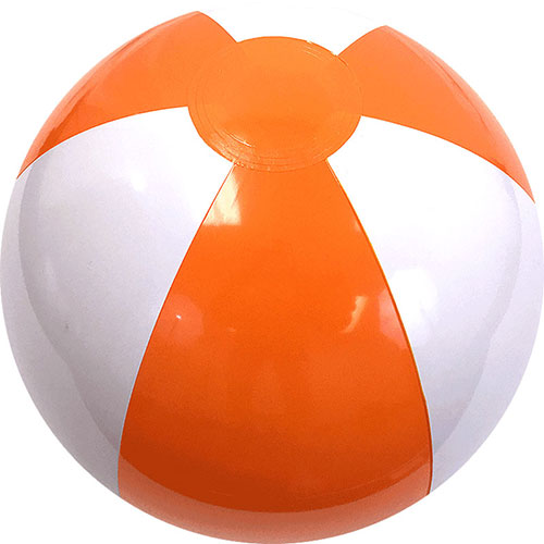"12"" Beach Ball (Orange/White) - Custom 12"" Beach Balls (Orange/White)"