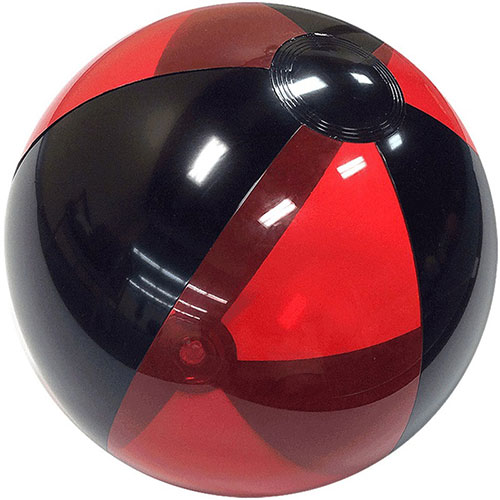 "12"" Translucent Red/Black Beach Ball - Custom 12"" Translucent Red/Black Beach Balls"