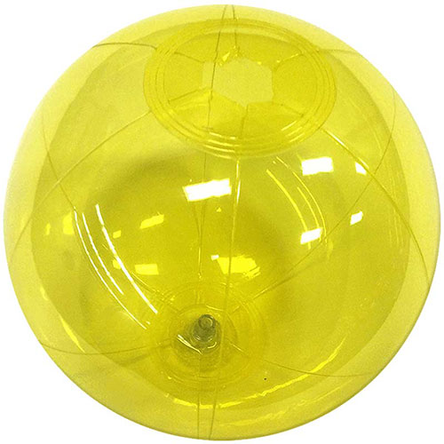 "12"" Translucent Yellow Beach Ball - Custom 12"" Translucent Yellow Beach Balls"