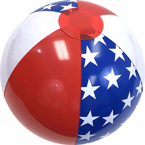 "12"" Patriotic Star Beach Ball - Custom 12"" Patriotic Star Beach Balls"