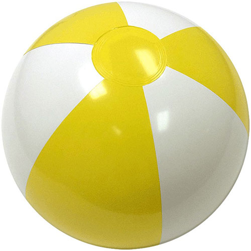 "12"" Alternating Yellow/White Beach Ball - Custom 12"" Alternating Yellow/White Beach Balls"