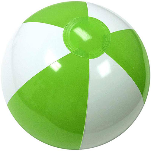 "12"" Alternating Lime Green/White Beach Ball - Custom 12"" Alternating Lime Green/White Beach Balls"