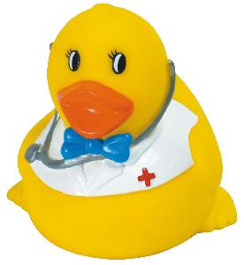 Rubber Smart Doctor Duck Toy - Rubber Toy Phthalate free and balanced and weighted for floating.