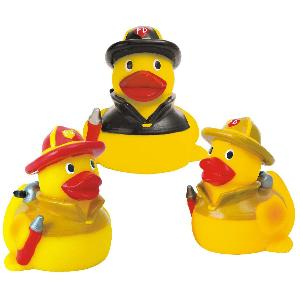 Rubber Fire Fighter Duck Toy - Rubber Fire Fighter Duck toys are phthalate free and balanced and weighted for floating.