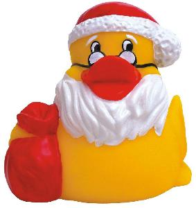 Rubber Santa Claus Duck Toy - All of our rubber toys are phthalate free and balanced for floating.