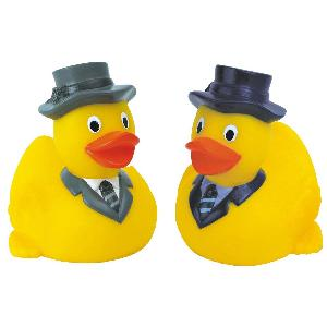 Rubber Business Duck Toy - All of our rubber toys are phthalate free and balanced for floating.