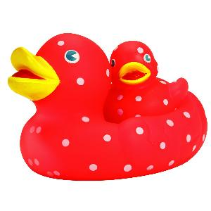 Polka Dot Mom & Baby Rubber Duck Toy - All of our rubber toys are phthalate free and balanced for floating.
