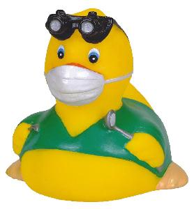 Rubber Dentist Duck Toy - Rubber Toy Phthalate free and balanced and weighted for floating.