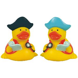 Rubber Pirate Navigator Duck Toy - All of our rubber toys are phthalate free and balanced for floating.
