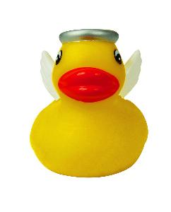 Yellow Mini Rubber Angel Duck Toy - All of our rubber toys are phthalate free and balanced for floating.