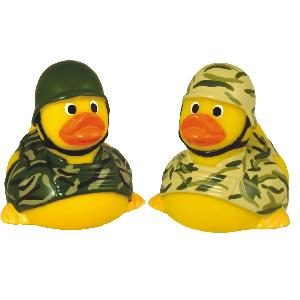 Rubber Soldier Duck Toy - Rubber Soldier Duck, Phthalate free and balanced and weighted for floating.