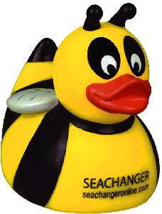 Rubber Bumble Bee Duck Toy - All of our rubber toys are phthalate free and balanced for floating.