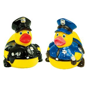 Rubber Heroic Police Duck Toy - Rubber Heroic Police Duck toys are phthalate free and balanced and weighted for floating.