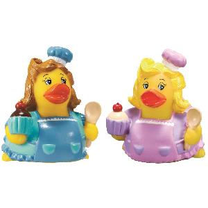 Rubber Sweet Baker Duck Toy - Rubber Toy Phthalate free and balanced and weighted for floating.