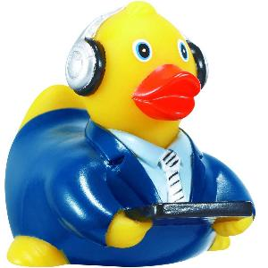 Rubber Broadcaster Duck Toy - Rubber Toy Phthalate free and balanced and weighted for floating.