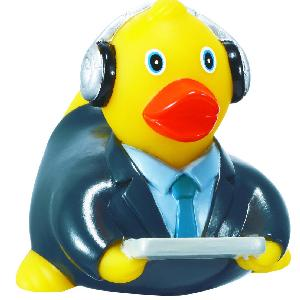 Rubber Computer Tech Duck Toy - Rubber Toy Phthalate free and balanced and weighted for floating.