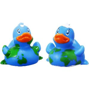 Rubber Round the World Duck Toy - All of our rubber toys are phthalate free and balanced for floating.