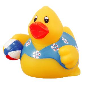 Rubber Beach Party Duck Toy w/ Ball - All of our rubber toys are phthalate free and balanced for floating.