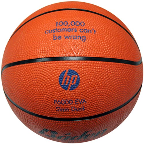 Intermediate Size Rubber Basketball - Solid Orange