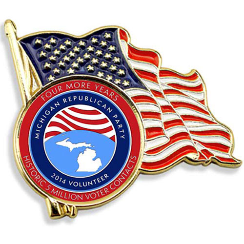 American Flag Enamel Lapel Pin w/ Custom Logo - Stock die struck waving American flag lapel pin with soft enamel color fill. Classic U.S. Flag design with highly polished gold finish. Ready to imprint with a full color logo with poly dome. Perfect for patriotic events, Memorial or Veteran's Day celebrations, or Political campaigns. Round imprint area. Fast 6 working day production. Imprinted in the USA. No die or setup charges!