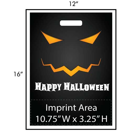 "Classic Jack-O-Lantern Trick or Treat Bag Exclusive Design - These Halloween treat bags feature a classic jack-o-lantern with a great big ""Happy Halloween"" at the bottom of the design. Your custom imprint and logo is printed at the bottom of the bags in full color! Other customization options are available. This exclusive design is available only from Perfect Imprints. Kick your Halloween up a notch this year and get your customized trick-or-treat / goodie bags from Perfect Imprints!"