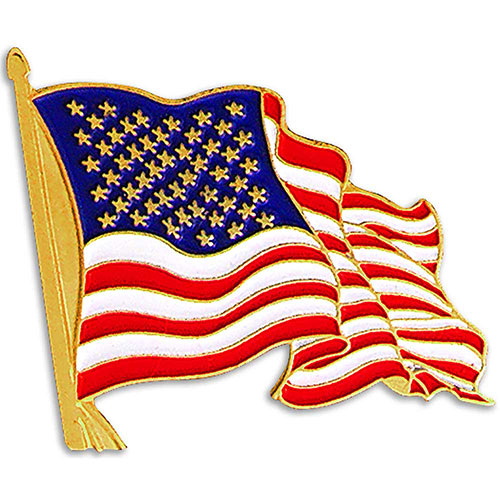 American Flag Lapel Pin - Show your patriotism. Die struck US flag lapel pin, highly polished gold finish with rich soft enamel color fill. Classic waving American Flag design, perfect for patriotic events, Memorial, Independence or Veteran's Day celebrations, or political campaigns. Includes butterfly clutch. In stock for fast delivery.