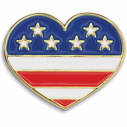Heart W/ Flag Patriotic Lapel Pin - Show your patriotism with this American Flag Heart Lapel Pin. Highly polished gold metal finish with rich soft enamel color. Includes butterfly clutch. In Stock for Fast Delivery to your Patriotic event, political campaign rally, or Memorial or Veteran's Day parade.