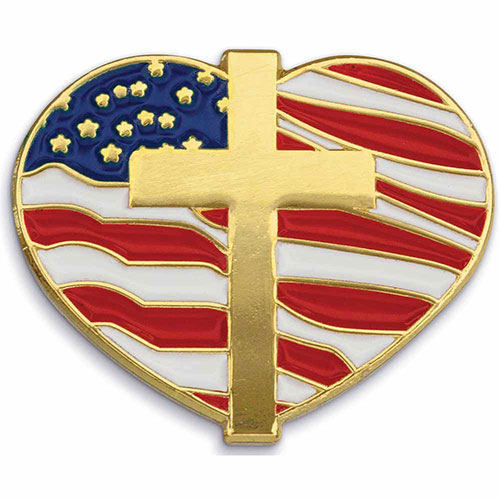 Heart W/ Cross and Flag - Patriotic Lapel Pins - Showcase your patriotism and your faith with this American Flag Heart with Cross Lapel Pin. Highly polished gold metal finish with rich soft enamel color. Includes butterfly clutch. In Stock for Fast Delivery to your Patriotic or church event, political campaign rally, or Memorial or Veteran's Day parade.