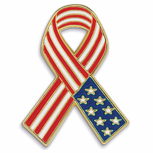 American Flag Ribbon - Patriotic Lapel Pins - Show your patriotism and pride with this American Flag Ribbon Lapel Pin. Highly polished gold metal finish with rich soft enamel color. Includes butterfly clutch. In Stock for Fast Delivery to your Patriotic event, political campaign rally, or Memorial or Veteran's Day parade.
