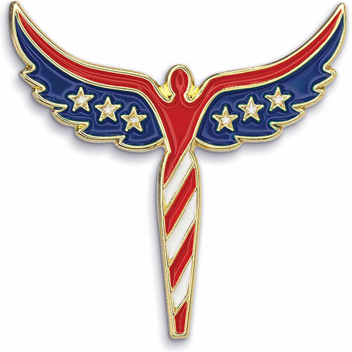 Angel U.S. Flag Pin - Patriotic Lapel Pins - Show your patriotism with this American Flag Angel Lapel Pin. Highly polished gold metal finish with rich soft enamel color. Includes butterfly clutch. In Stock for Fast Delivery to your Patriotic event, political campaign rally, or Memorial or Veteran's Day parade.