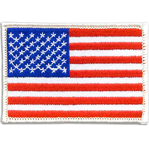 American Flag Patch - Embroidered - Embroidered U.S. flag patch with 100% thread coverage. Heat seal back. Choice of gold or white merrowed border. In stock for fast delivery.