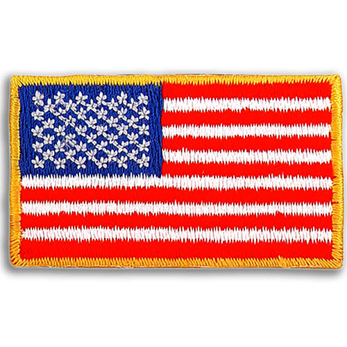 Embroidered American Flag Applique - Embroidered U.S. flag applique with 100% thread coverage. Adhesive back. Red, white and blue thread with yellow merrowed border. In stock for fast delivery.