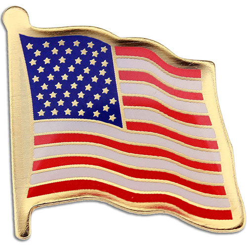 Etched American Flag Lapel Pin - Show your American pride. Stock etched US flag lapel pin features a highly polished gold finish with rich enamel color fill and epoxy dome. Classic USA flag design, ideal for patriotic events, Memorial and Veteran's Day celebrations, and political campaigns. Butterfly clutch included. In stock for fast delivery.