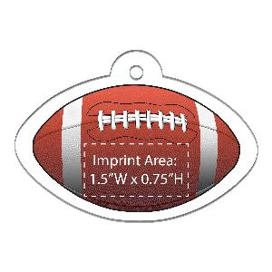 Acrylic Football Shaped Full-Color Ornaments - 100 Minimum - Custom football-shaped Christmas ornaments with your full-color printed logo.