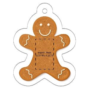 Acrylic Gingerbread Man Full-Color Ornaments - 50 Minimum - Acrylic Gingerbread Man ornaments with your full-color printed logo.
