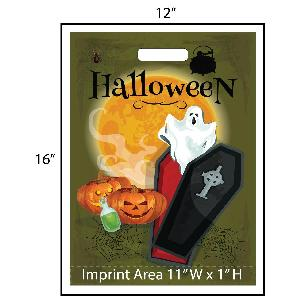 Ghost Coffin Trick or Treat Bag - Exclusive Design - These awesome Halloween goodie bags feature a spooky ghost flying out from a vampires coffin. Additionally, your logo is printed at the bottom of the bags in full color! Other customization options are available.